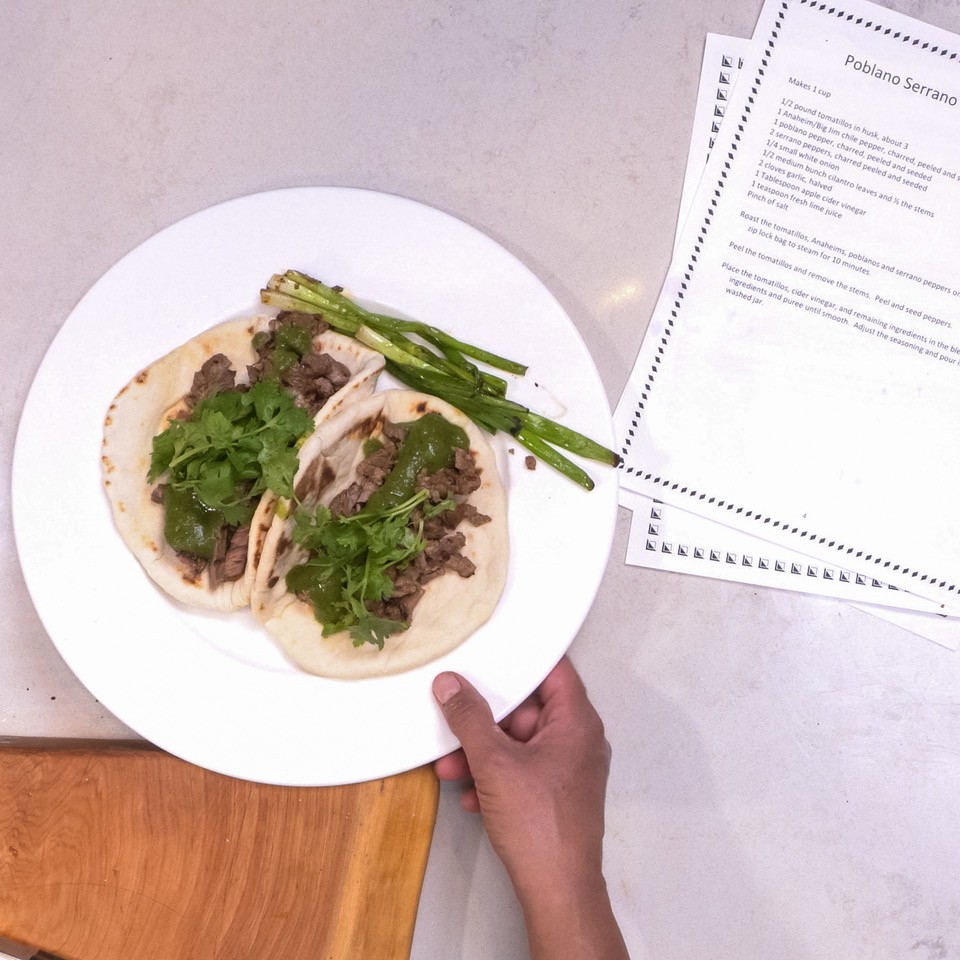 Carne Asada Tacos with Poblano Serrano Tomatillo Sauce and Homemade Flour Tortillas with Chef Mica